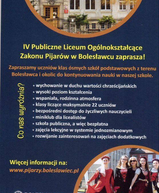 Lista uczniów zakwalifikowanych do I klasy Publicznego Liceum Ogólnokształcącego Zakonu Pijarów